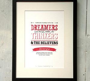 framed dreamers thinkers believers